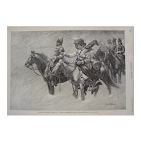 Antique Wood Engraving by Frederic S. Remington-Canadian Mounted Police on a Winter Expedition