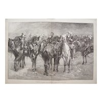 Antique Wood Engraving by Frederic S. Remington-Calvary in an Arizona Sand Storm