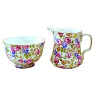 Chintz Sugar & Creamer, 2 Piece Set, Radford's