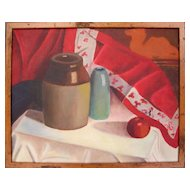 Still Life With Quilt - 20th Century American Oil Painting