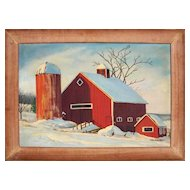 Red Barn in Winter - 20th C. American Oil Painting