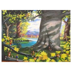 Elves in a Landscape Acrylic Painting by Patrick Anderson