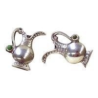 Sterling Silver  Earrings w/ Turquoise  - Screw back