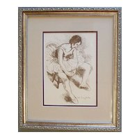 Ballet Dancer, Vintage Lithograph by Moses Soyer- Signed