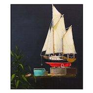 Original Oil Painting of Ship Model by Dan Dunn