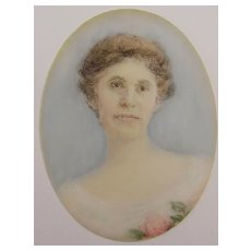 Miniature Watercolor Painting of a Woman on Celluloid