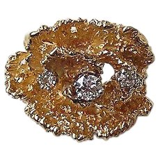 Diamond Ring14kt Yellow Gold  with 3 European Cut Diamonds, size 6 1/2