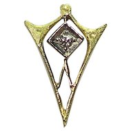 Antique Art Deco 10K Gold Diamond Stick Pin