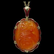 Vintage Art Deco 14K Gold Enamel Carved Carnelian Necklace Pendant