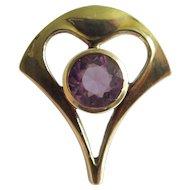 Antique Art Nouveau 10K Gold Amethyst Stick Pin