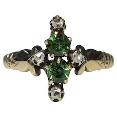 Antique Victorian 10K Gold Tourmaline & Diamond Ring