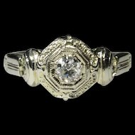 Vintage Art Deco 18K White Gold Diamond Solitaire Engagement Ring