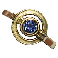 Upcycled Edwardian 14K Gold Sapphire Stick Pin Conversion Ring