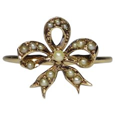 Upcycled Antique Victorian 10K Gold Seed Pearl Bow Stick Pin Conversion Ring