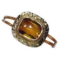 Upcycled Edwardian 10K Gold Citrine Stick Pin Conversion Ring