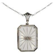 Antique Art Deco 14K White Gold Camphor Glass & Diamond Pendant Necklace