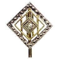 Antique Art Deco 14K White & Yellow Gold Diamond Stick Pin