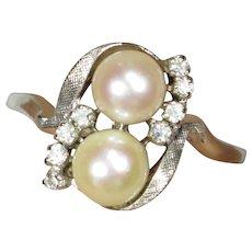 Vintage Retro 14K White Gold Double Pearl & Diamond Pearl Dinner Ring