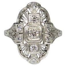 Antique Edwardian Platinum Diamond Filigree Dinner Ring