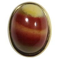 Antique Edwardian 14K Gold Jasper Cabochon Stick Pin