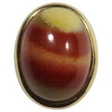 Antique Edwardian 14K Gold Jasper Cabochon Stick Pin