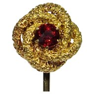 Antique Victorian 10K Gold Love Lover's Knot Garnet Stick Pin