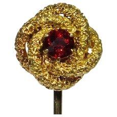 Antique Victorian 10K Gold Love Lover's Knot Garnet Stick Pin