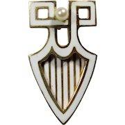 Antique Edwardian 14K Gold Riker Brothers Enamel Seed Pearl Stick Pin