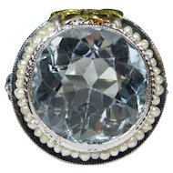 Antique Art Deco 14K White Gold Filigree Seed Pearl Huge Aquamarine Dinner Ring