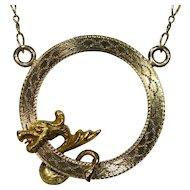 Art Nouveau Edwardian 14K 10K Brooch Stick Pin Dragon Pendant Necklace Conversion Piece