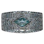 Art Deco 10K White Gold Filigree Bar Brooch Ring Conversion Piece