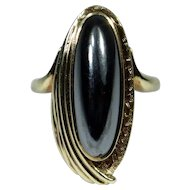Vintage Retro 10K Yellow Gold Birks Hematite Ring