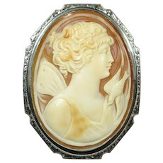 Antique Art Deco 14K White Gold Psyche Cameo Brooch/Pin Pendant