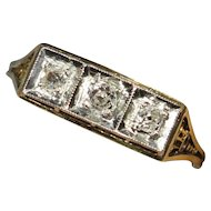 Antique Edwardian 14K Gold & Platinum Three Diamond Filigree Ring