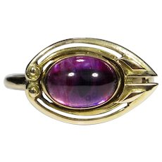 Upcycled Antique Art Nouveau 14K 10K Gold Amethyst Shield Stick Pin Conversion Ring