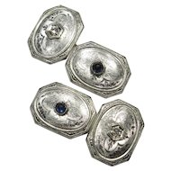 Antique Art Deco 14K White Gold Diamond & Sapphire Cufflinks Cuff Links