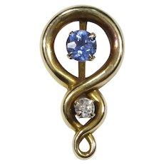 Antique Art Nouveau 14K Gold Sapphire & Diamond Stick Pin