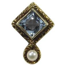 Antique Edwardian 14K Gold Aquamarine & Seed Pearl Stick Pin