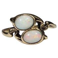 Antique Art Nouveau 10K Gold Two Opal Ring