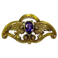 Antique Art Nouveau 14K Gold Riker Bros. Amethyst Wings Watch Pin/Brooch