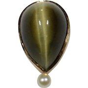 Antique Edwardian 14K Gold Tiger Eye & Seed Pearl Stick Pin