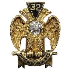 Antique Victorian 14K Gold Diamond Enamel 32 Scottish Rites Masonic Mason's Stick Pin