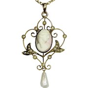 Antique Edwardian 10K Gold Cameo & Seed Pearl LARGE Lavaliere Pendant