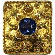 Antique Edwardian 14K Gold Sapphire Stick Pin