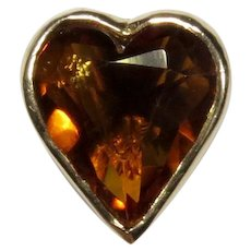 Antique Victorian 14K Gold Citrine Heart Stick Pin