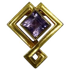 Antique Edwardian 14K Gold Alling & Co Amethyst Stick Pin
