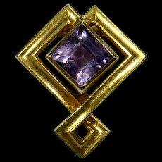 Antique Edwardian 14K Gold Alling & Co Amethyst Stick Pin