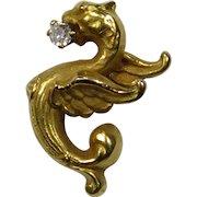 Antique Art Nouveau 14K Gold Diamond Griffin Winged Dragon Chimera Stick Pin