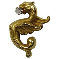 Antique Art Nouveau 14K Gold Diamond Griffin Winged Dragon Chimera Stick Pin
