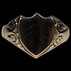 Antique Art Deco 9CT Rose Gold Shield Men's Man's Signet Ring